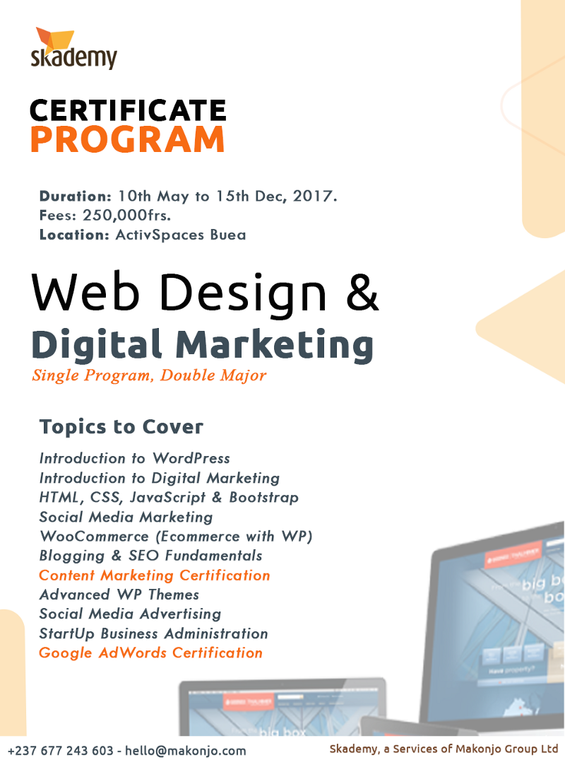 Photo of Apply for Skademy's Web Design & Digital Marketing Training @ActivSpaces Buea