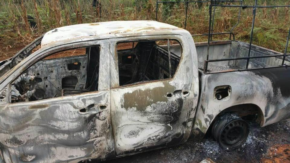 Photo of Abduction of NW MINAS Delegate: Exclusive Pictures of Burnt Car