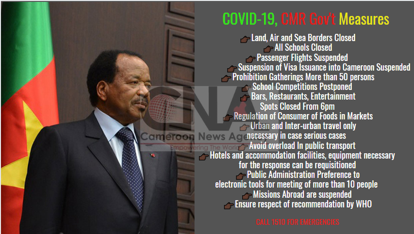 Photo of COVID-19: Cameroon Gov't Takes Drastic Measures